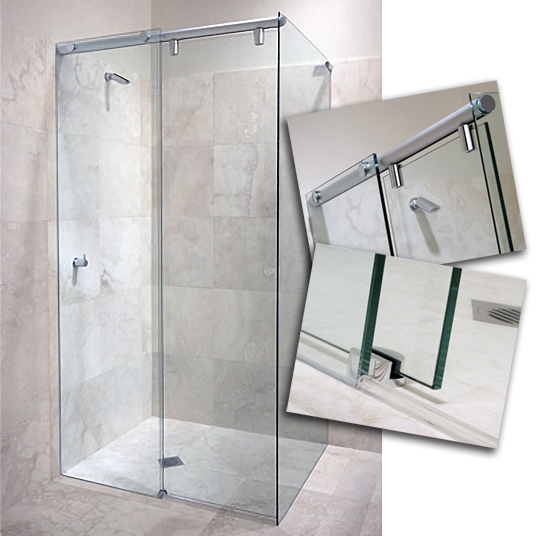 Shower door system glass shower doors frameless shower for Floor to ceiling glass panels